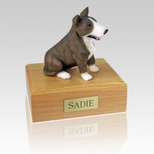 Bull Terrier Brindle & White Dog Urns