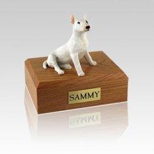 Bull Terrier White Medium Dog Urn