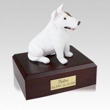 Bull Terrier White Sitting Large Dog Urn