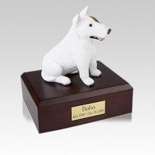 Bull Terrier White Sitting Medium Dog Urn