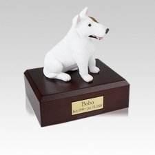 Bull Terrier White Sitting Small Dog Urn