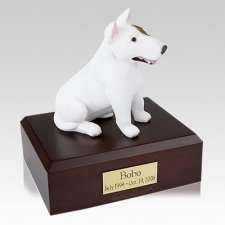 Bull Terrier White Sitting X Large Dog Urn