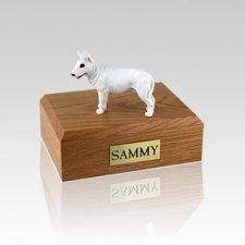 Bull Terrier White Standing Medium Dog Urn