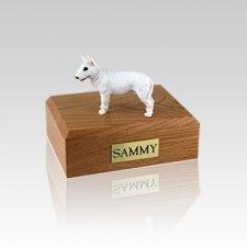 Bull Terrier White Standing Small Dog Urn