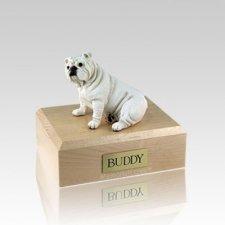 Bulldog White Medium Dog Urn