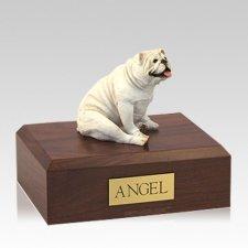 Bulldog White Resting Large Dog Urn