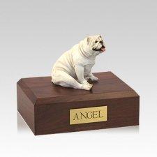 Bulldog White Resting Medium Dog Urn