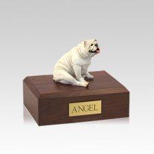 Bulldog White Resting Small Dog Urn