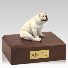 Bulldog White Resting Dog Urns