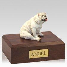 Bulldog White Resting X Large Dog Urn