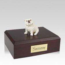 Bulldog White Sitting Large Dog Urn