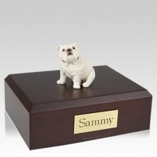 Bulldog White Sitting Dog Urns