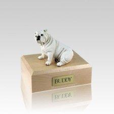 Bulldog White Small Dog Urn