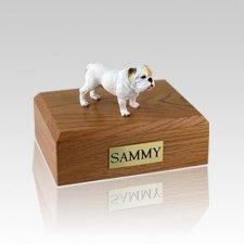 Bulldog White Standing Large Dog Urn