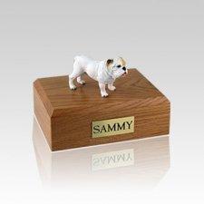 Bulldog White Standing Medium Dog Urn