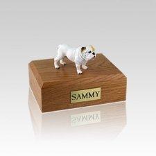 Bulldog White Standing Small Dog Urn