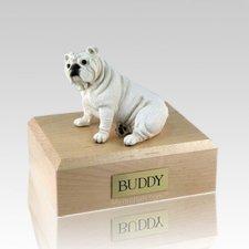 Bulldog White X Large Dog Urn