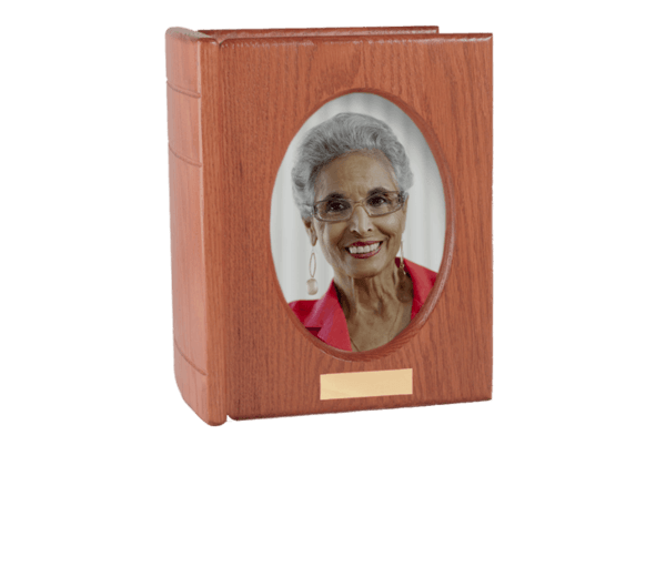 Burgundy Portrait Book Cremation Urn