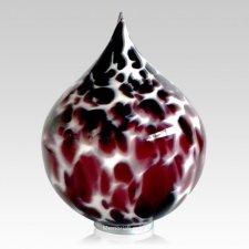 Burgundy Drop Glass Cremation Urn