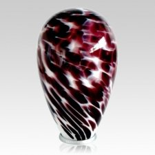 Burgundy Swirl Glass Cremation Urn