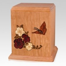 Butterfly Cherry Wood Cremation Urn