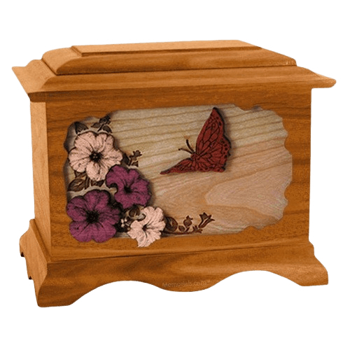 Butterfly Mahogany Cremation Urn
