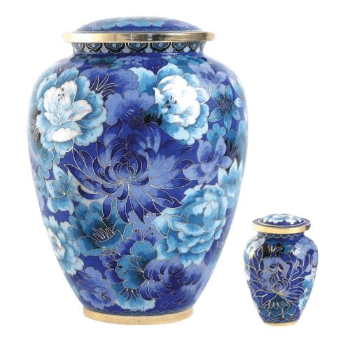 Blue Flowers Elite Cloisonne Cremation Urns