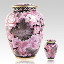 Pink Flowers Elite Cloisonne Cremation Urns