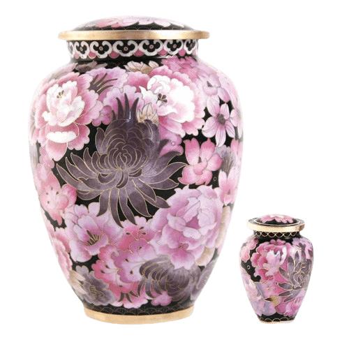 Pink Flowers Elite Cloisonne Cremation Urns