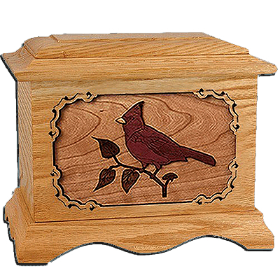 Cardinal Oak Cremation Urn For Two