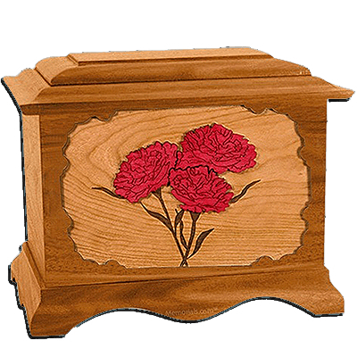 Carnation Mahogany Cremation Urn for Two