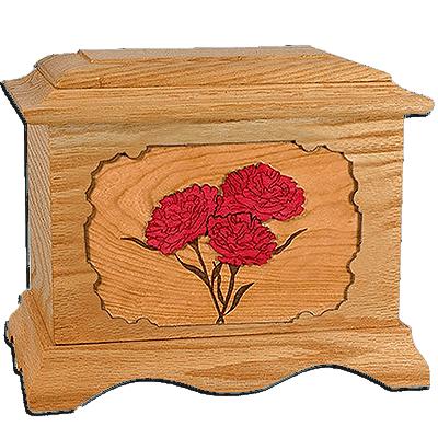 Carnation Oak Cremation Urn for Two