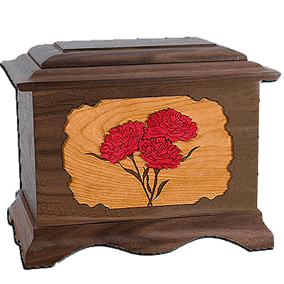 Carnation Walnut Cremation Urn For Two