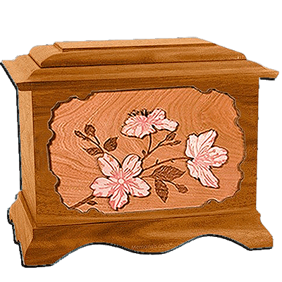 Cherry Blossom Mahogany Cremation Urn for Two