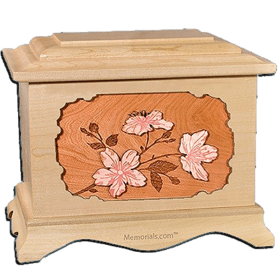 Cherry Blossom Maple Cremation Urn for Two