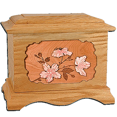 Cherry Blossom Oak Cremation Urn for Two