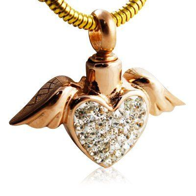 Heart on Wings Cremation Jewelry