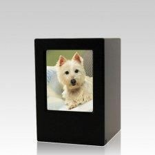 Black Pet Small Photo Wood Urn