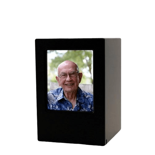 Black Eternity Small Photo Wood Urn