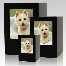 Black Pet Photo Wood Urns