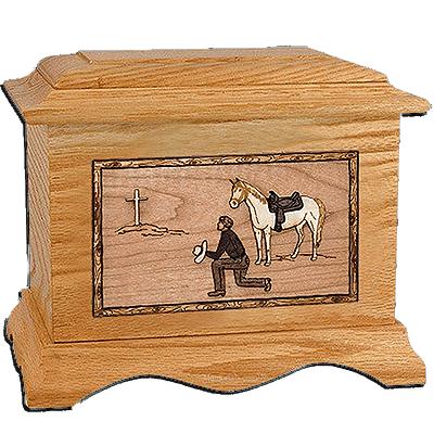 Cowboy Oak Cremation Urn for Two