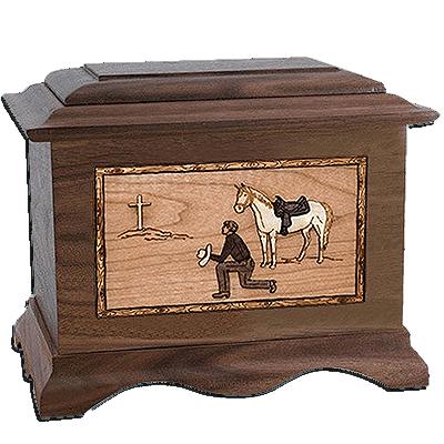 Cowboy Walnut Cremation Urn For Two