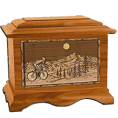 Cycling Mahogany Cremation Urn for Two
