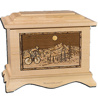 Cycling Maple Cremation Urn for Two