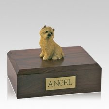 Cairn Terrier Tan Sitting Large Dog Urn