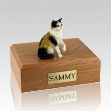 Calico Sitting Large Cat Cremation Urn