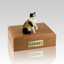 Calico Sitting Medium Cat Cremation Urn