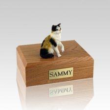 Calico Sitting Small Cat Cremation Urn