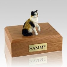 Calico Sitting X Large Cat Cremation Urn