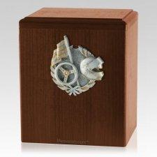 Car Racing Walnut Cremation Urn